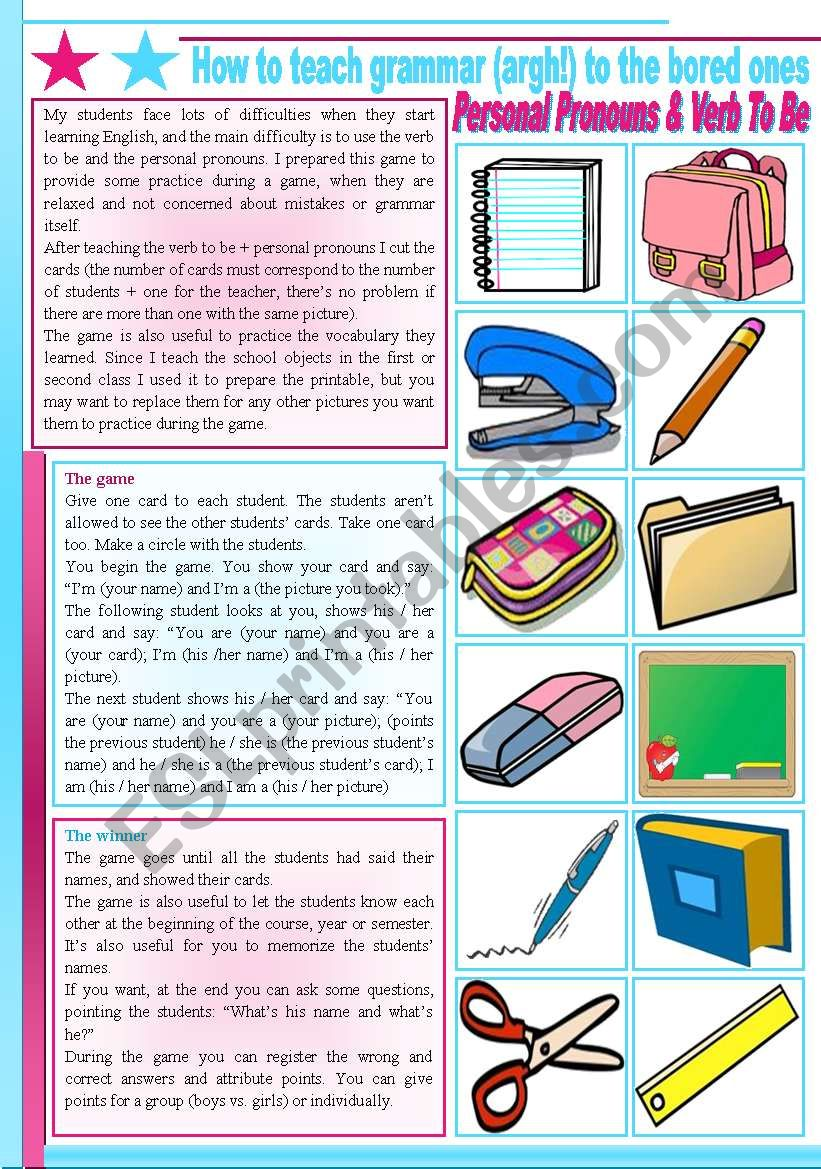 How to teach grammar (argh!) to the bored ones – verb to be (present), personal pronouns, possessive adjectives [2 games] FULL DIRECTIONS – CARDS INCLUDED ((2 pages)) ***editable